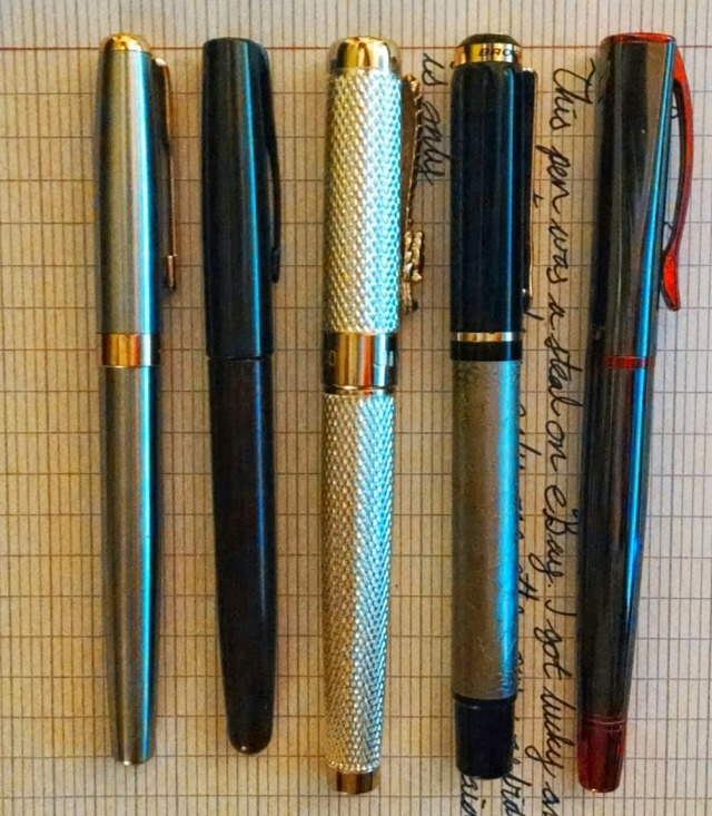 Here we can see our 507 with, from left to right, a Baoer 388, a Parker Frontier, a Jinhao 1200, itself, and a Monteverde Impressa, a pen I'm totally all over.
