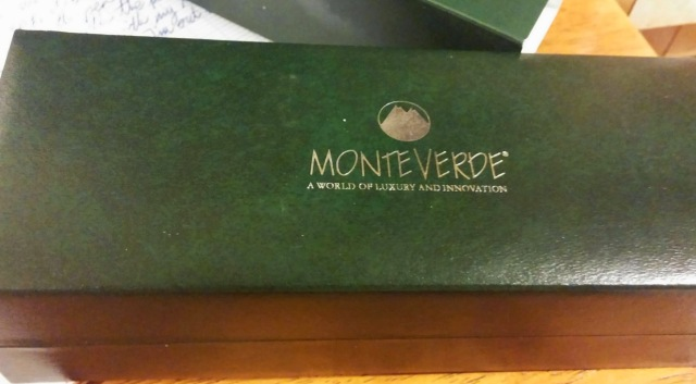 The Monteverde Impressa box. Inside is satin, outside faux green leather. Very nice.