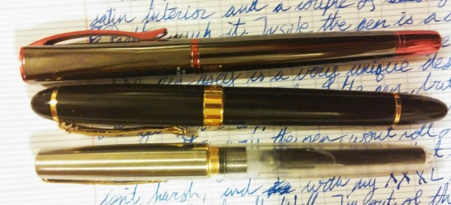 The Monteverde Impressa (top), next to a Jinhao X450, one of the closest pens I have to it in weight, and my Parker Frontier Demonstrator, my favourite pen.