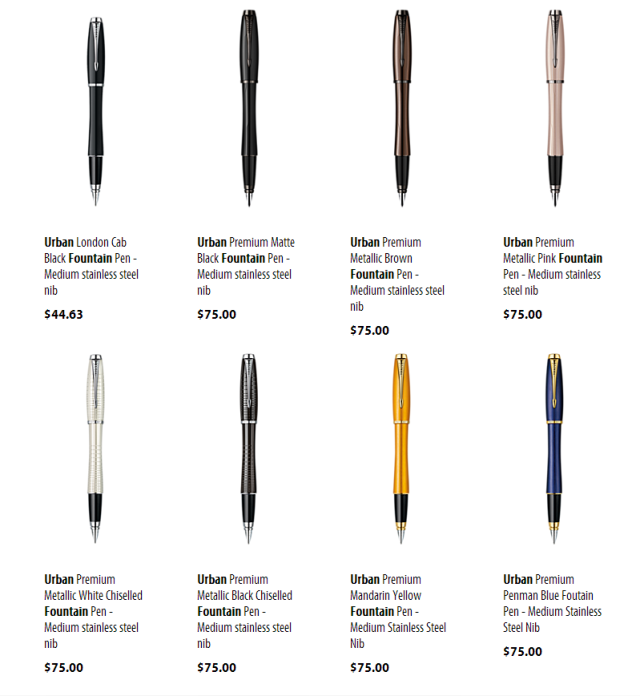 Look at those prices, by the way. HOLY MOLY. Remember, this is a pen whose functional parts are directly from a $10 pen.