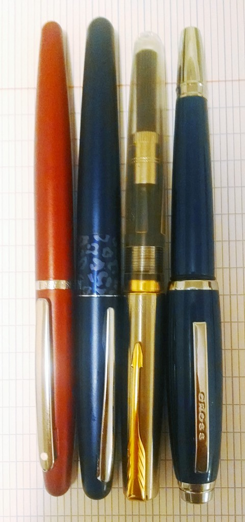 The pen with a few of its price competitors, which all run about $15 online. Sheaffer VFM, Pilot Metropolitan, Parker Frontier (to be fair, this is a much rarer version of that pen), and of course, the jewel of the UAE, this Cross pen.